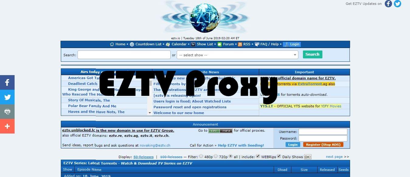 EZTV proxy, EZTV unblokced, EZTV