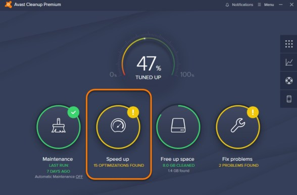 Avast Cleanup Interface