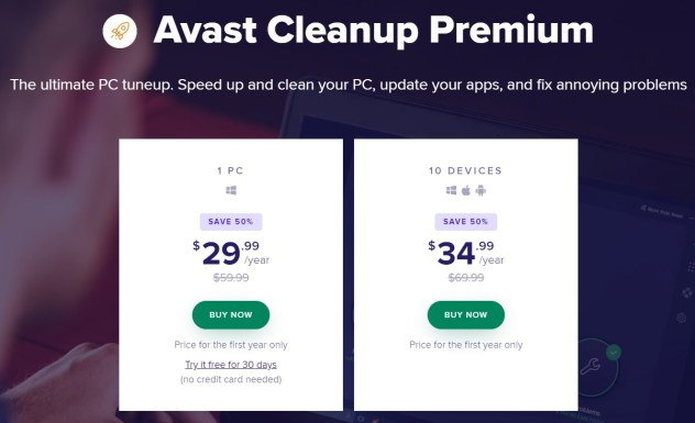 Avast Cleanup Pricing